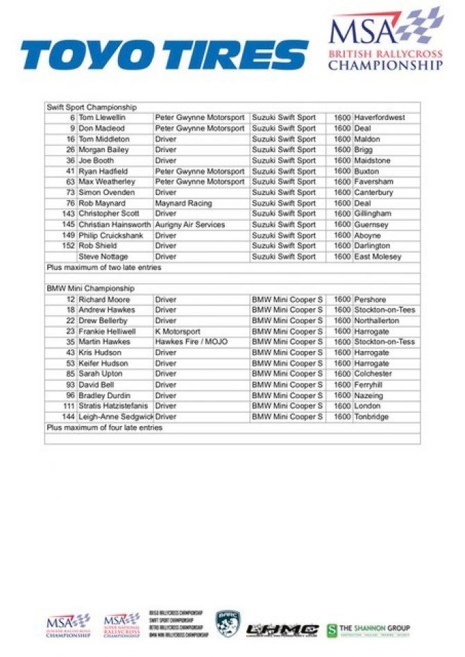 Lydden Entry List 2