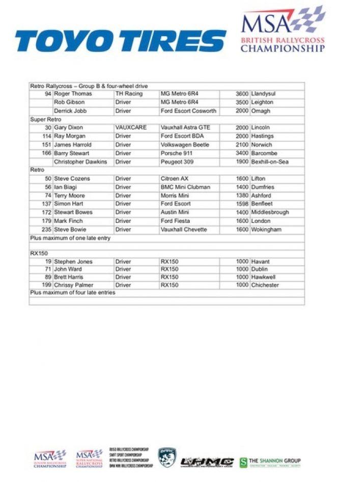 Lydden Entry List 3
