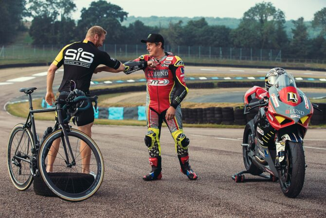 Sir Chris Hoy and John McGuinness at Lydden Hill