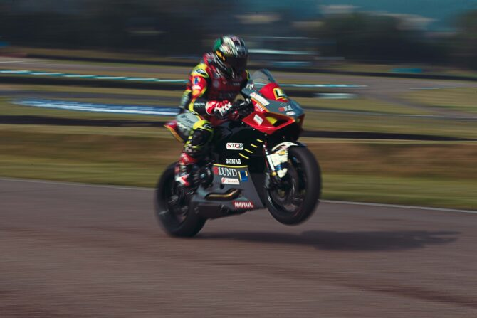 John McGuinness on two wheels at Lydden Hill before testing on four wheels